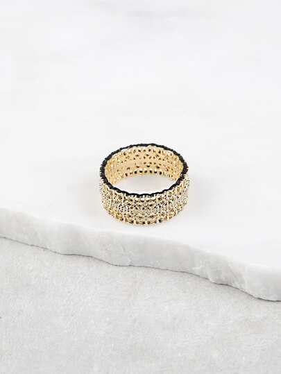 Gold Plated Hollow Cut Out Ring GOLD