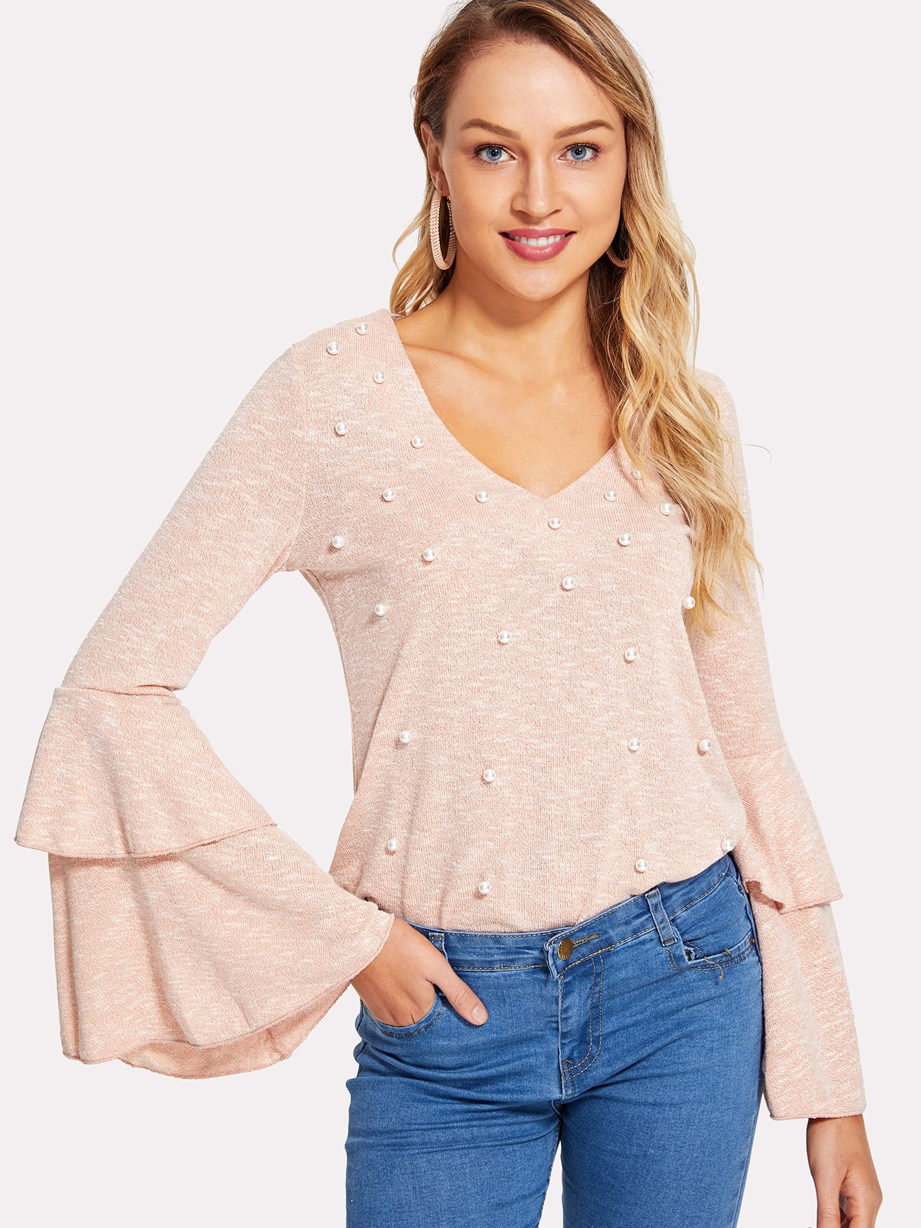 Pearl Embellished Layered Bell Sleeve Tee pearl detail layered bell sleeve ribbed top