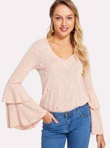 Pearl Embellished Layered Bell Sleeve Tee