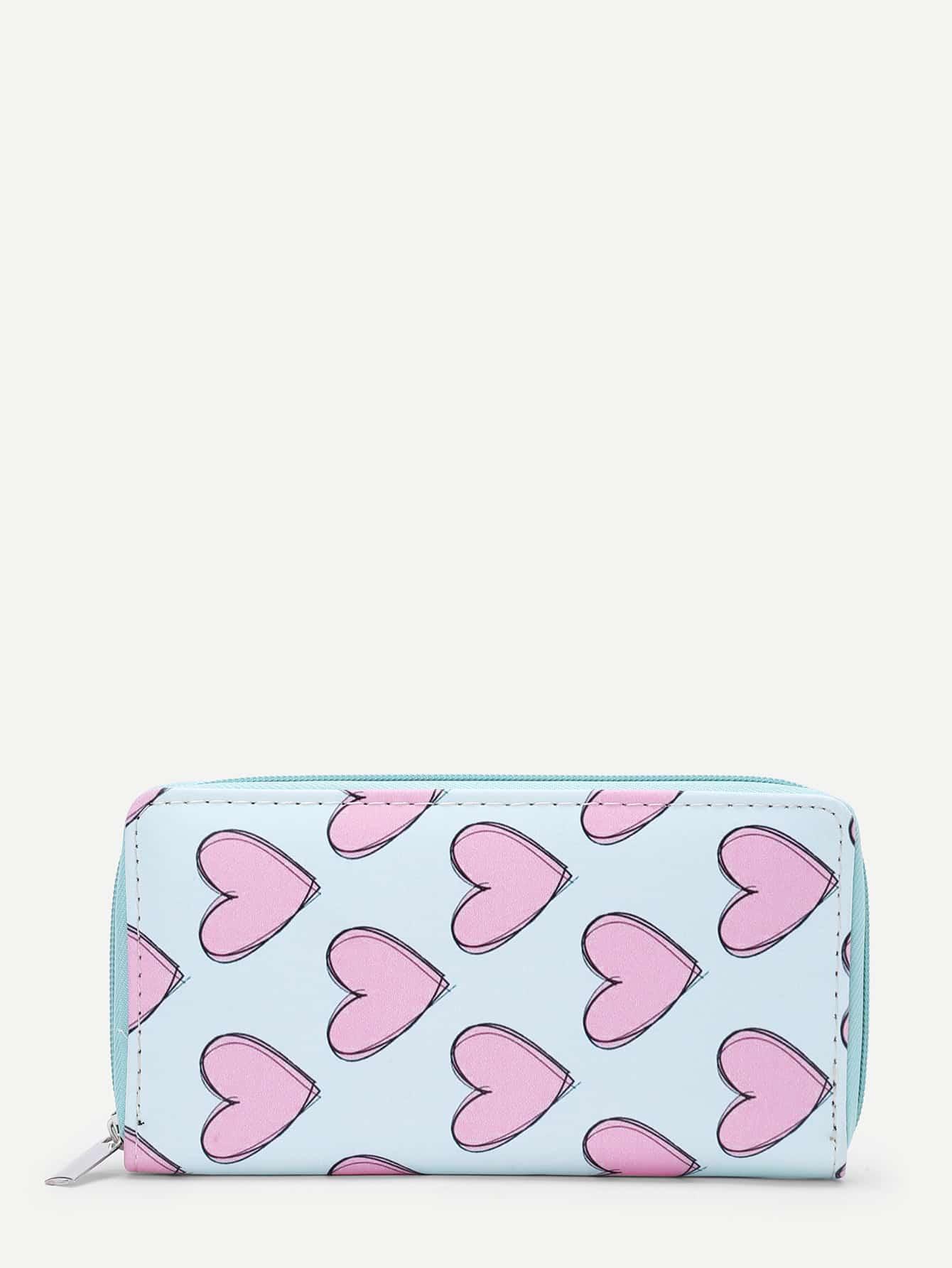 Heart Print PU Purse flower print pu purse