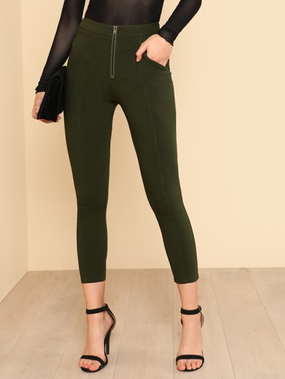 Zip Front Fly Skinny Pants
