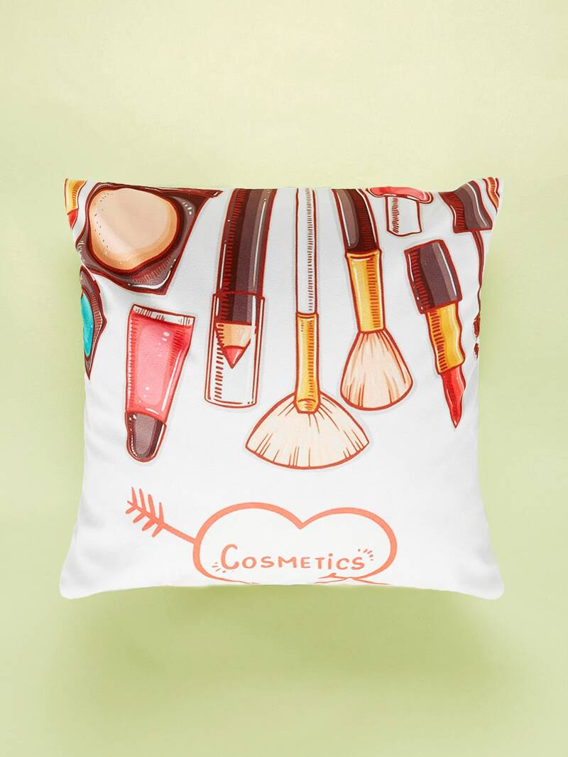 Makeup Tools Print Cushion Cover, Multicolor