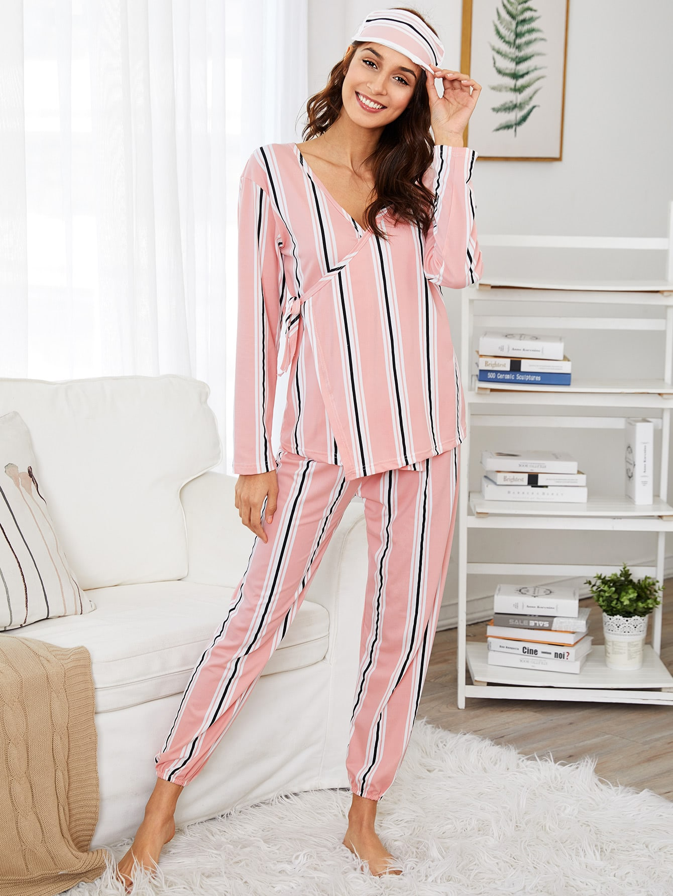 Striped Wrap Pajama Set With Eye Mask цена и фото