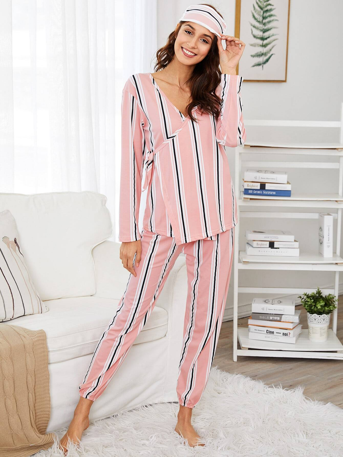 Striped Wrap Pajama Set With Eye Mask