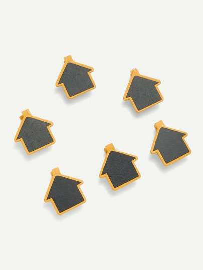 House Shape Blackboard Wooden Clips 6 Pcs