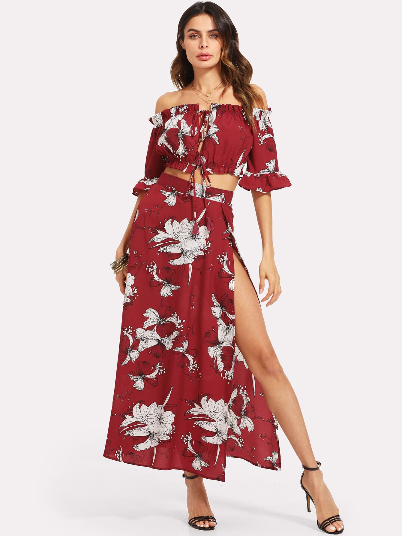Knot Front Crop Bardot Top And High Slit Skirt Set knot front shirred ruffle sleeve bardot top