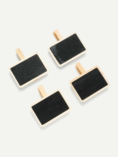 Rectangle Blackboard Wooden Clips 4Pcs