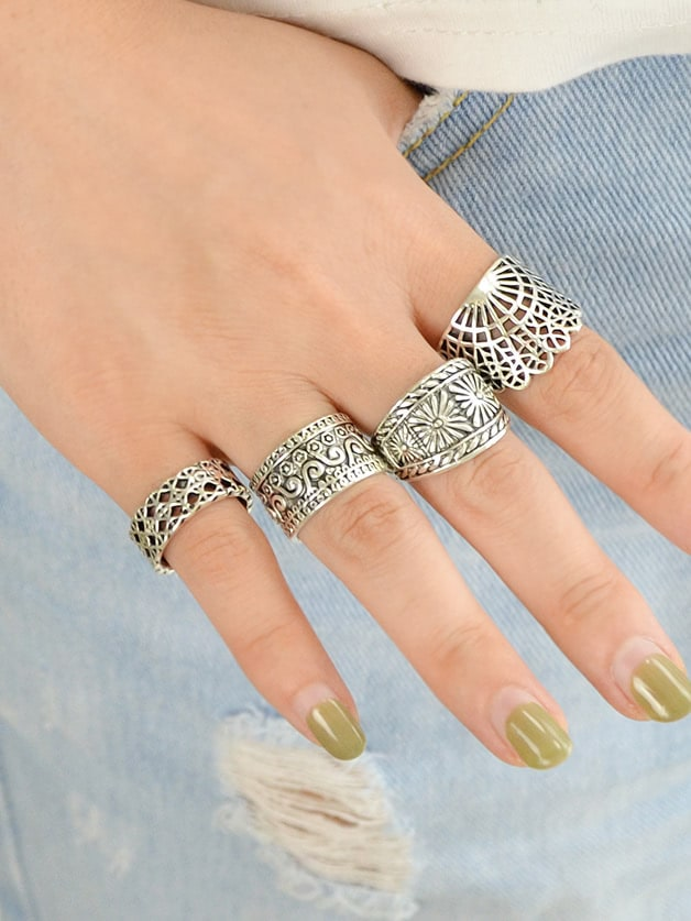 4 Pcs/Set Hollow Out Knuckle Ring Set erection ring set package of 4