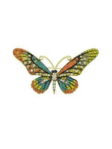 Colorful Rhinestone Butterfly Brooch