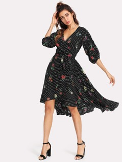 Gathered Sleeve Surplice Wrap Floral & Polka Dot Dress