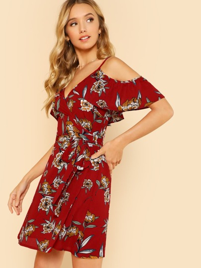 Floral Ruffle Cold Shoulder Wrap Dress RED