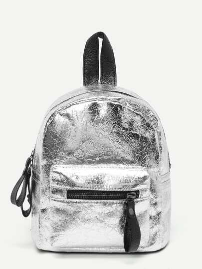 Metallic Zipper Pocket Front Backpack