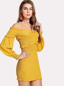 Overlap Front Frill Trim Bardot Dress
