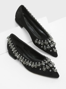Heart Shaped Rhinestone Pointed Toe Flats