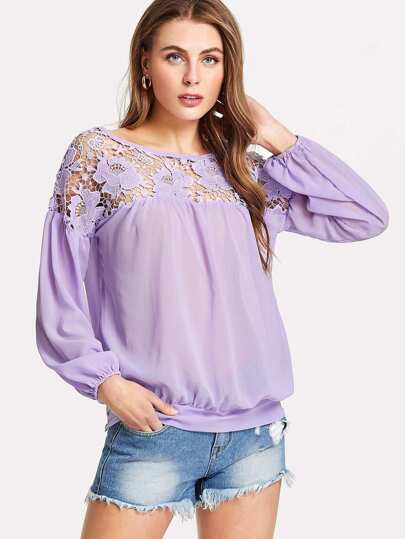 Floral Lace Shoulder Top