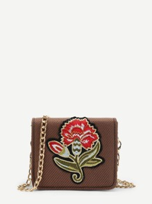 Flower Embroidery Flap Chain Bag