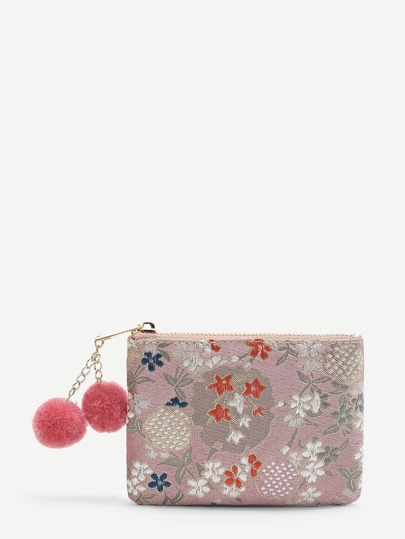 Calico Embroidered Wallet With Pom Pom