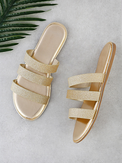 Metallic 3 Strap Slip On Sandals GOLD GLITTER