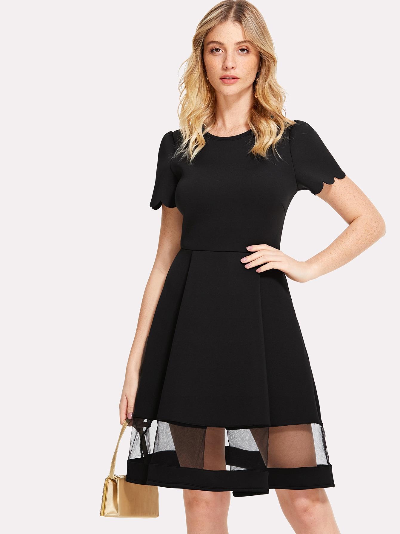 Купить Модное платье с фестонами и сетчатой вставкой, Nathane, SheIn