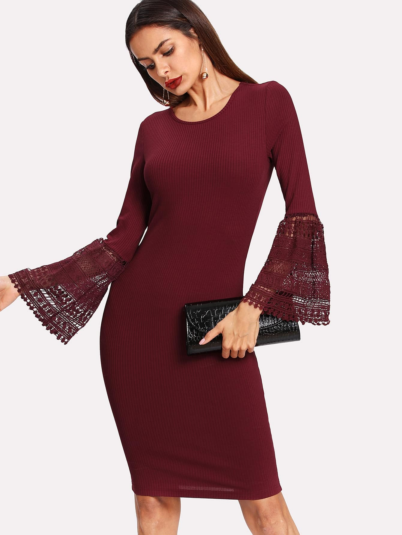 Lace Flounce Sleeve Ribbed Pencil Dress pearl detail flounce sleeve pencil dress