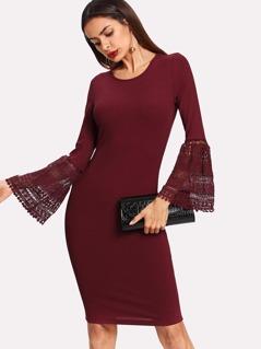 Lace Flounce Sleeve Ribbed Pencil Dress