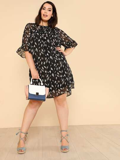 Leaf Print Sheer Shoulder Chiffon Dress
