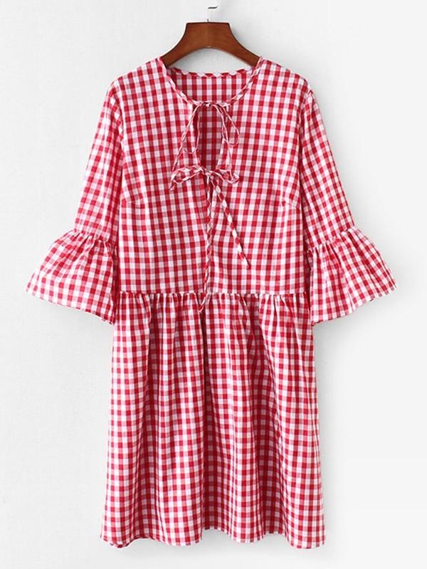 Tie Neck Smock Gingham Dress raglan sleeve smock gingham dress