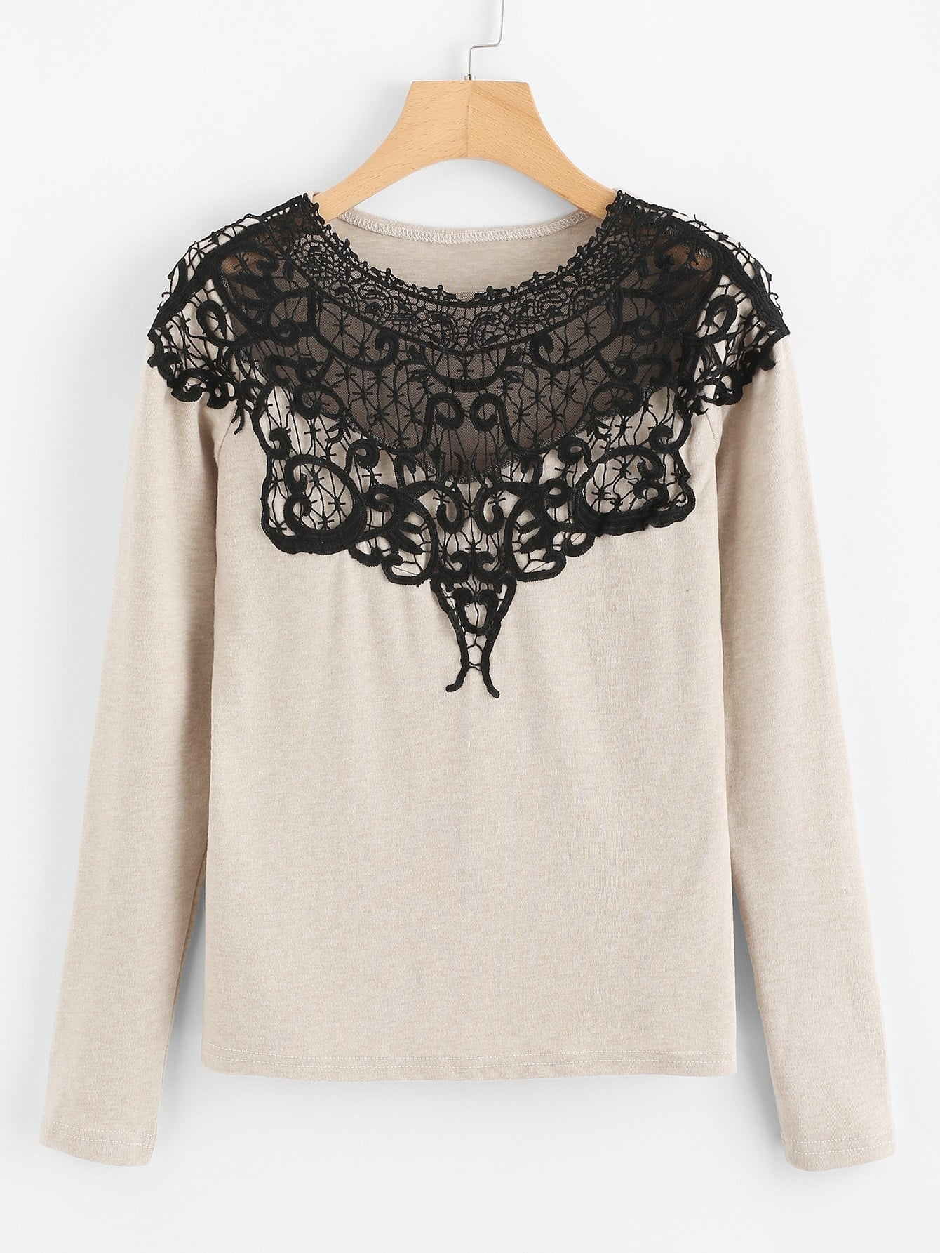 Contrast Lace Applique T-shirt lace applique two tone t shirt