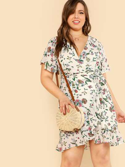 Flower Print Cross Front Flounce Hem Dress