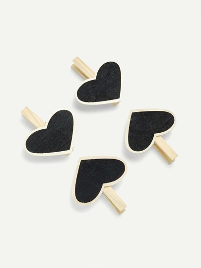 Heart Shape Blackboard Wooden Clips 4Pcs
