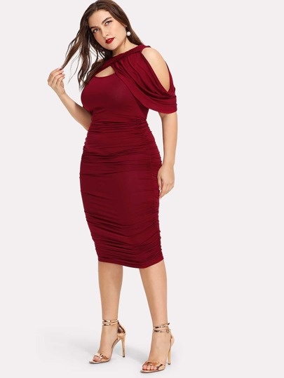 Draped Cold Shoulder Open Front Ruched Dress