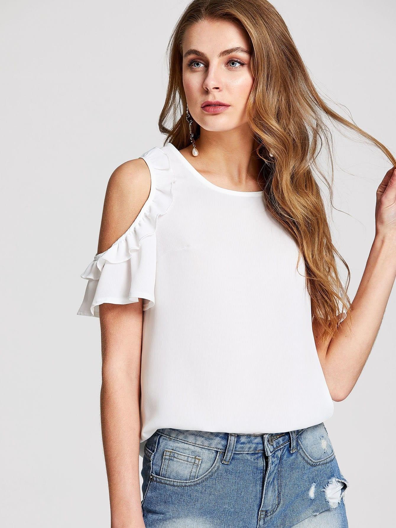 Купить Модная блуза с открытыми плечами, Nastya, SheIn
