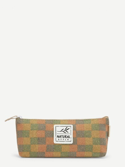Patch Checkered Pencil Case