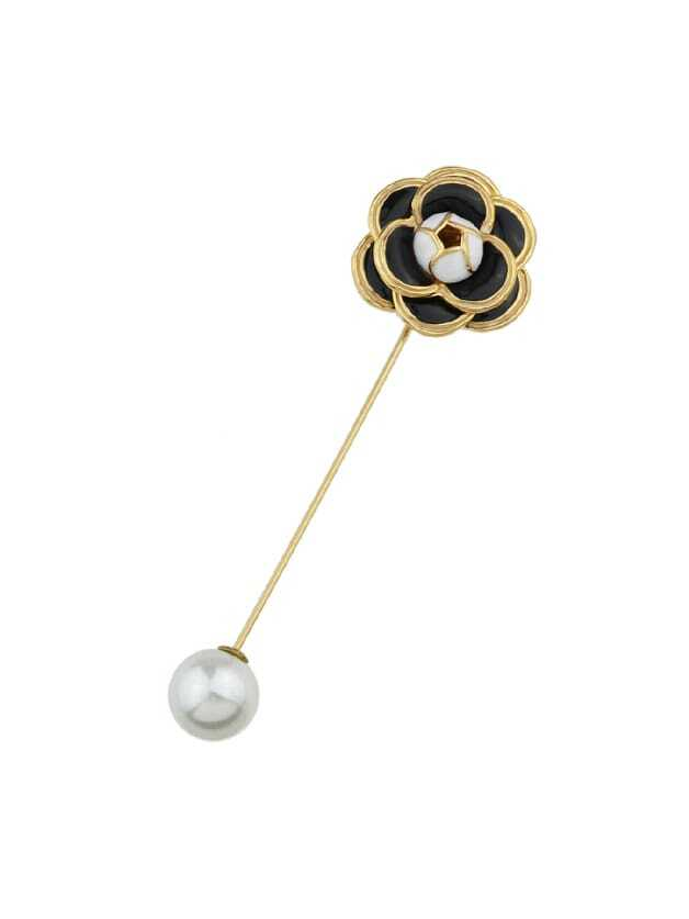 Black Enamel With Simulated-Pearl Flower Brooch все цены