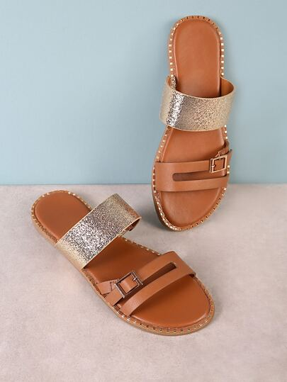 Metallic Band Buckle Strap Slide Sandal with Rhinestone Trim TAN