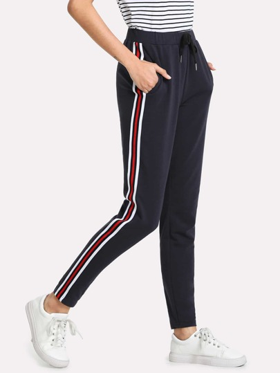 Contrast Tape Side Drawstring Waist Sweatpants