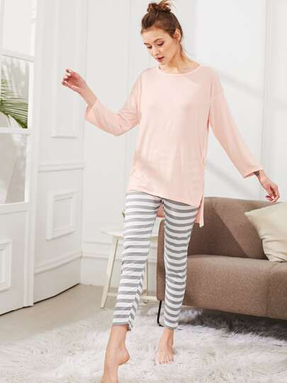 Dip Hem Solid Tee & Striped Pants PJ Set