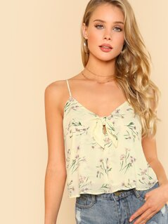Spaghetti Strap Front Knot Flower Print Crop Top CREAMY DITSY FLORAL