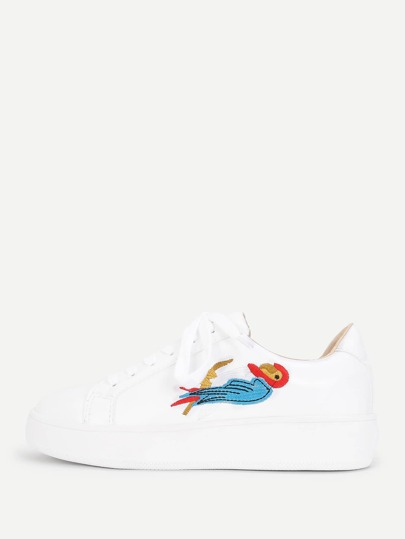Bird Embroidery Lace Up Sneakers