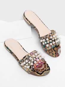 Faux Pearl Satin Flat Sandals