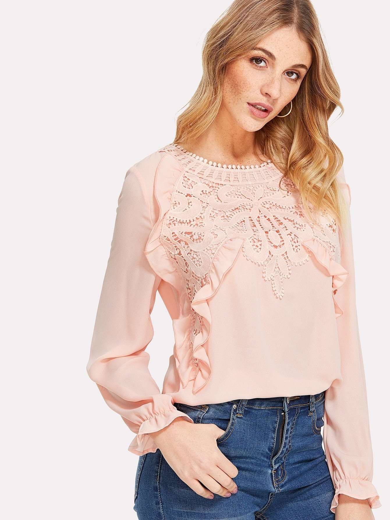 Ruffle And Guipure Lace Detail Top pearl and layered lace detail pullover