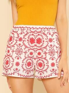 Floral Print Elastic Waist Shorts RED