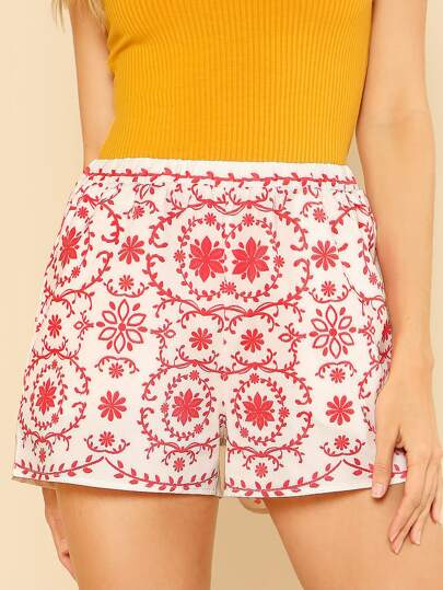 Floral Print Elastic Waist Shorts RED