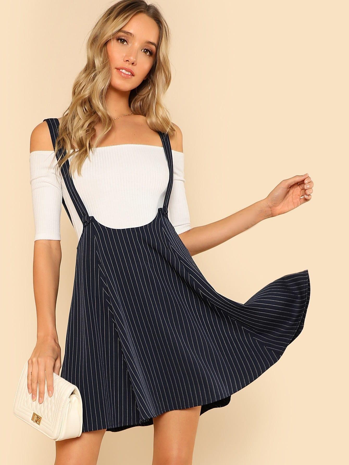 Купить Модная юбка в полоску с лямкой, Racquelle Lawrence, SheIn