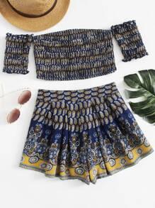 Flower Print Ruched Crop Bardot Top And Shorts Set