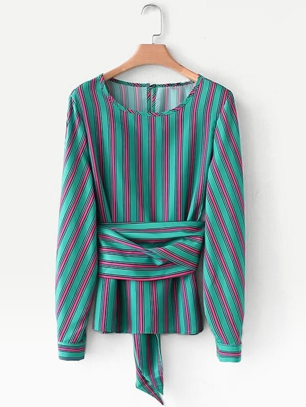 Self Tie Striped Blouse