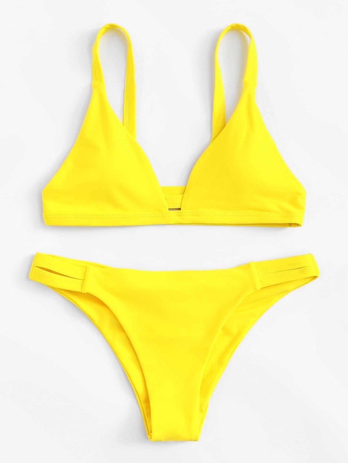 Caged Back Ruched Detail Bikini Set ruched detail halter bikini set