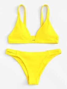 Caged Back Ruched Detail Bikini Set