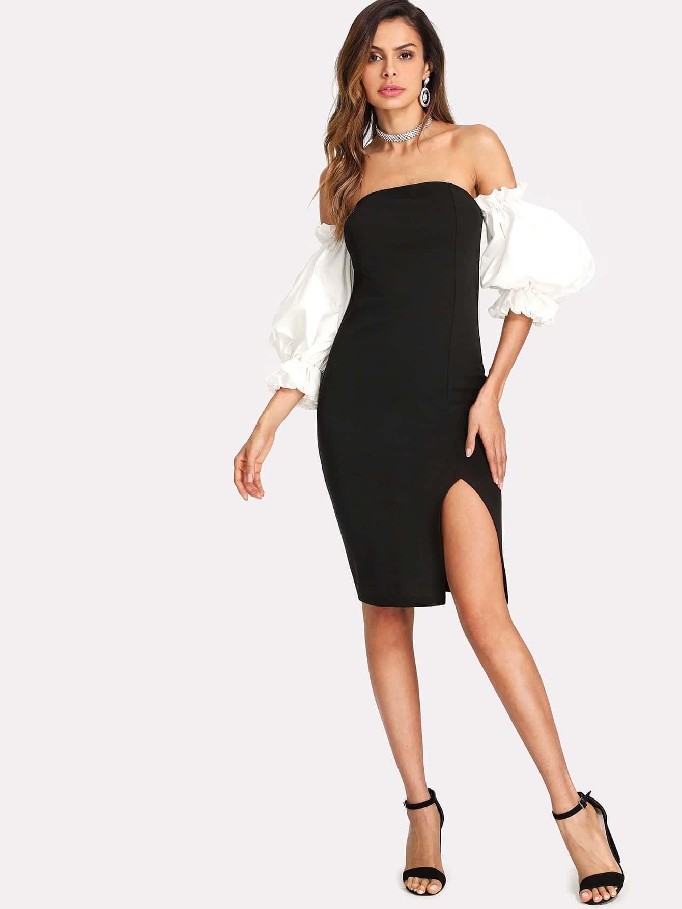 все цены на Exaggerate Lantern Sleeve Split Bardot Dress