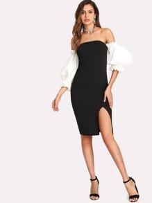 Exaggerate Lantern Sleeve Split Bardot Dress